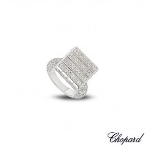 Chopard 18k White Gold Diamond Set Ice Cube Ring B&P 825442-1109